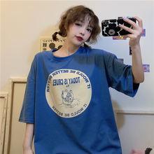 Женская хлопковая футболка с коротким рукавом свободная универсальная