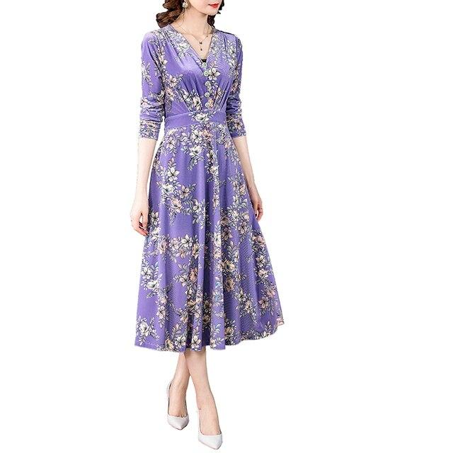 ZUOMAN 2021 Fall Winter Purple Floral Velvet Midi Dresses Korea Vintage 3XL Plus Size Long Dresses Women Elegant Party Vestidos 5
