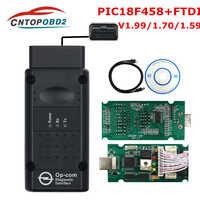 Mais recente op com V1.99 V1.70 V1.59 com PIC18F458 FTDI Para Carro Opel COMOP atualização de Firmware do Flash Opel CAN BUS Car ferramenta de diagnóstico