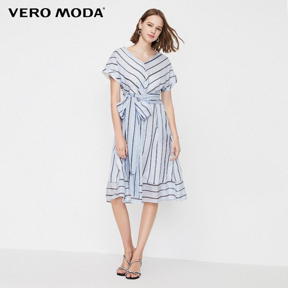 Vero Moda Women's Glossy Fabric V-neckline Stripe Print Dress | 31927B532
