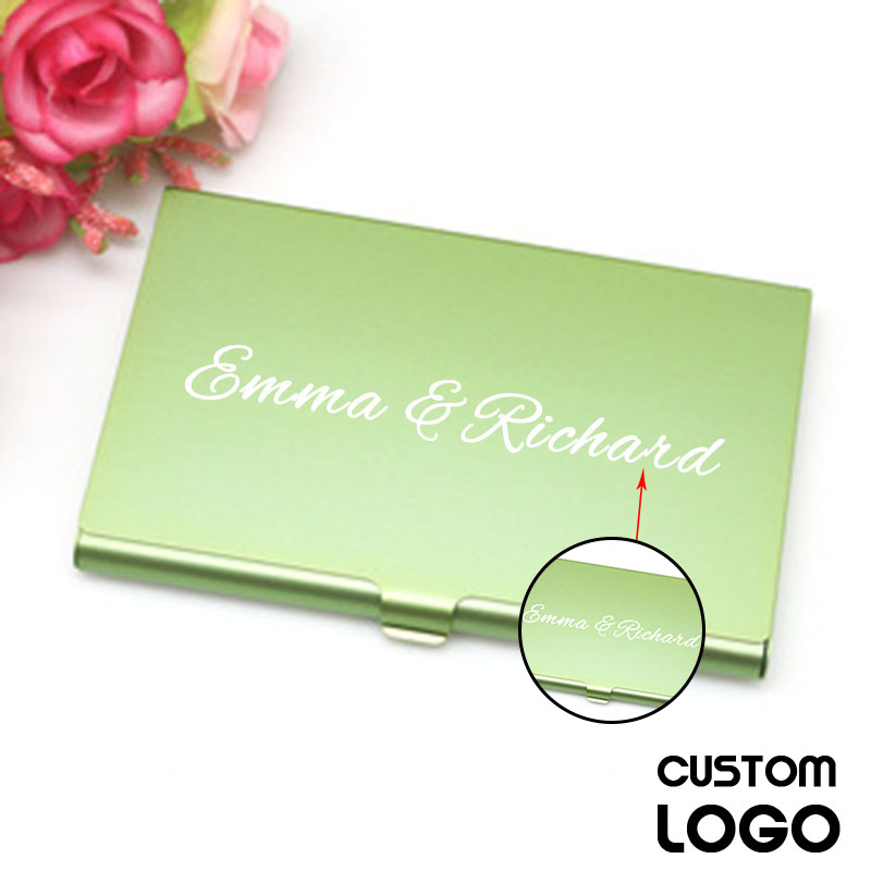 1pc School Student Supplies Custom LOGO Business Card Holder Stainless Steel Aluminum Holder Metal Box Can Be Carved Wallet Clip