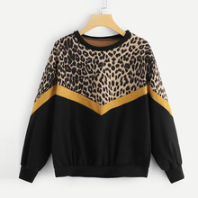 Leopard Fashion Sweatshirt Womens Casual Long Sleeve Patchwork Print O-Neck Female Tops Pollovers #C9