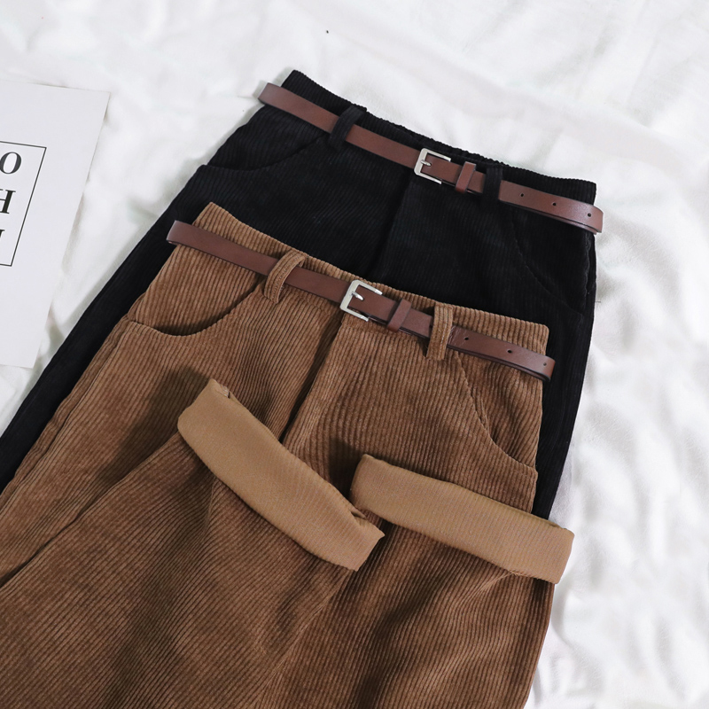 Lucyever New 2021 Women Spring Corduroy Pants High Waist Vintage Korean Wide Leg Pants Elegant Belt Loose Cotton Streetwear 6