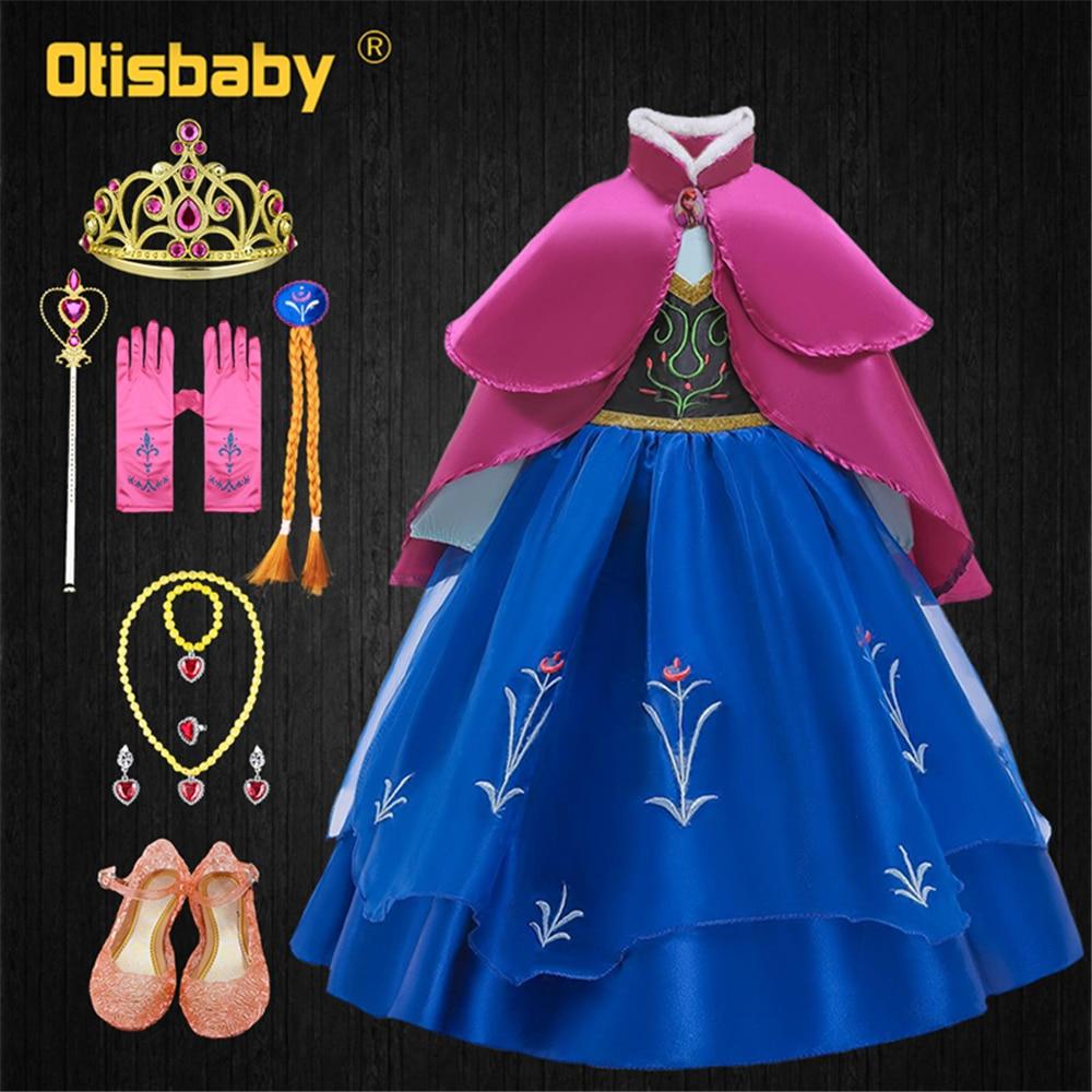 Vestido de princesa Anna Elsa de fantasía disfraz de Anna vestidos de cuello alto de verano para niñas vestido de hada Anna con capa rosa