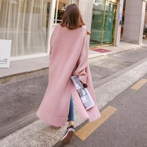 Image 2 - Colorfaith新 2020 秋冬の女性のセーター韓国スタイルミニマリスト固体多色カジュアルロングカーディガンSW8528
