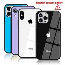 Caso de telefone de vidro diytempered para iphone 11 promax mini x marca legal caso para iphone xs max xr 12pro 8 7plus 6 capa cabido