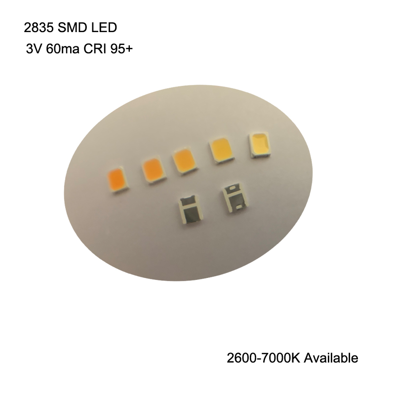 100PCS High CRI 95+ 2835 SMD LED 3V 60ma 16-26lm 2600-7000K Available For LED Lighting