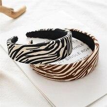Bandeau noué à motif zèbre pour femmes, fait à la main, 4cm de large, éponge rembourrée, cerceau pour cheveux, accessoires de mode, extensible