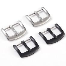 Металлическая пряжка для часов 14 мм, 18 мм, 20 мм, 22 мм, 24 мм, мужской ремешок для часов, серебристый, черный, застежка из нержавеющей стали, аксессуары