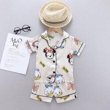 Children Summer Boys Girls Kids Clothing Sets Cartoon Suit Sleepwear Short Sleeve Disney Mickey Donald Duck Kid Pajamas