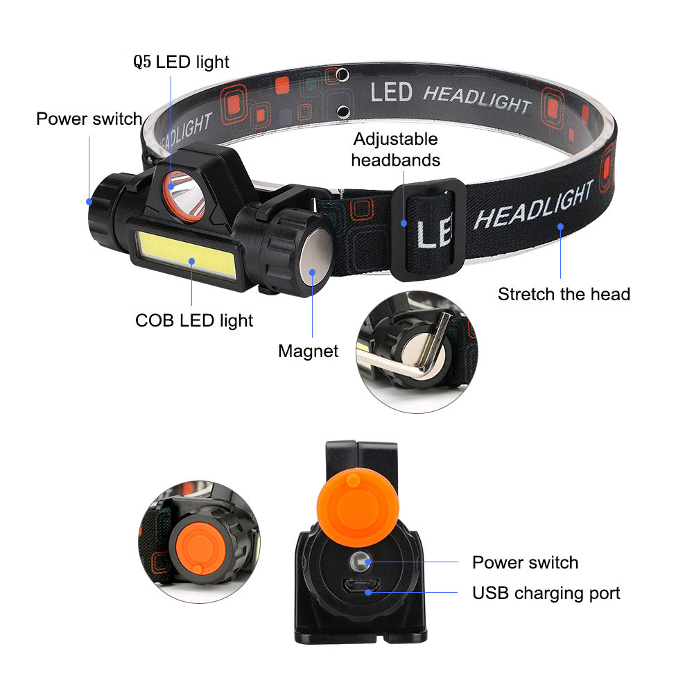 lowest price ZHIYU Portable Mini Flashlight Q5 COB Led Headlamp High Power Built-in 18650 Battery Outdoor Camping Headlight Stepless Dimming