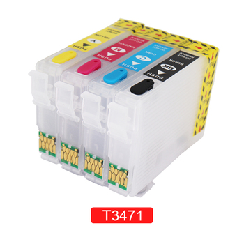 For Epson T34XL T3471 - T3474 Refillable Ink Cartridge with ARC Chips for Epson Workforce Pro WF-3720 WF-3725 Printer For Europe 8x t220xl compatible ink cartridge for epson workforce wf 2630 wf2650 wf 2660 printer