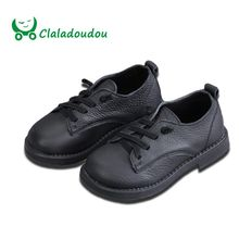 Claladoudou 13.5-18.5cm toddler shoes genuine leather school shoes whi