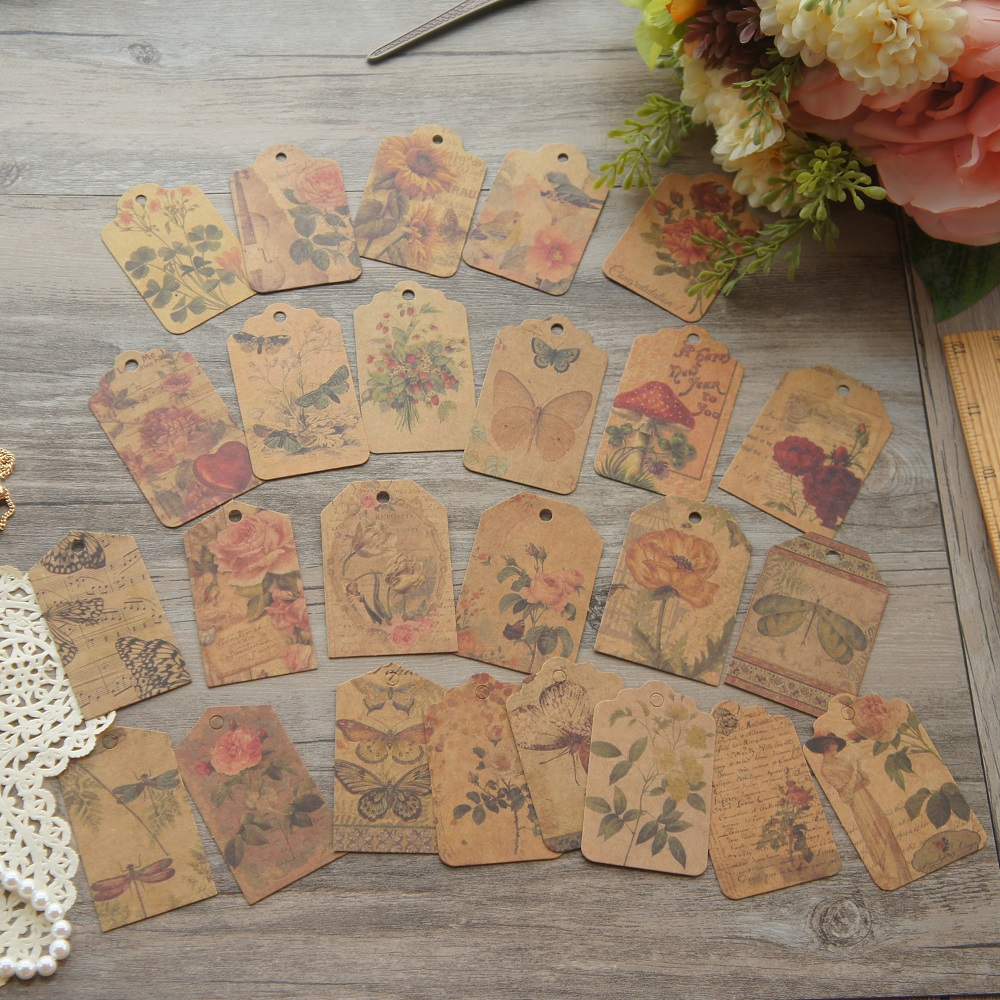24pcs Retro Lady And Her Garden Design Mini Kraft Paper Tag Label Wedding Birthday Party Gift Decoration Scrapbooking DIY