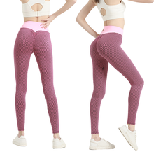 New Yoga Pants For Women Seamless Gym Fitness Grid Tights High Waist Elastic Push Up Leggings Sports Running Leggins Mujer