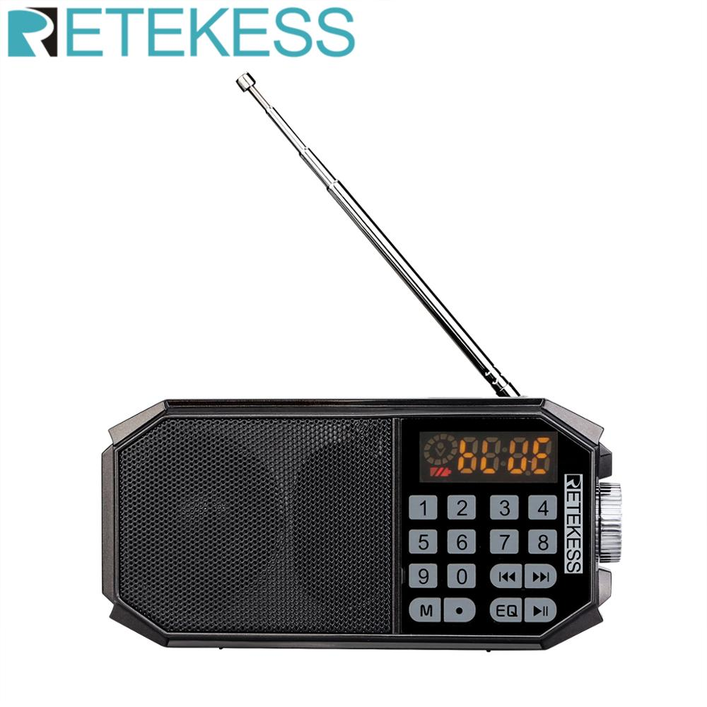 Retekess TR610 Bluetooth FM radio with headphone jack supports T-flash (TF) card to read music from U disk supports Recording