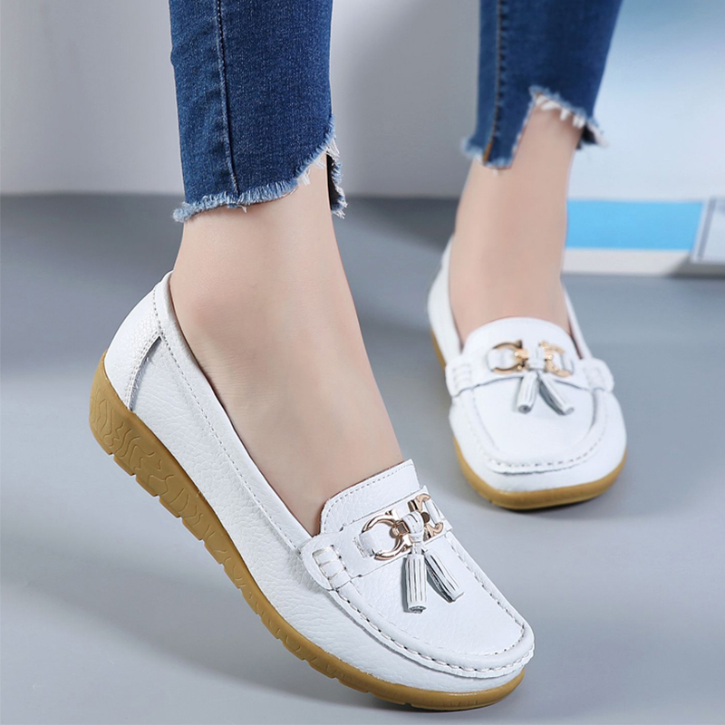 Flats Women Shoes Genuine Leather Ballet Shoes Woman Flats Loafers Moccasins Pu Breathbale Slip On Ladies Shoes Plus Size 35-44