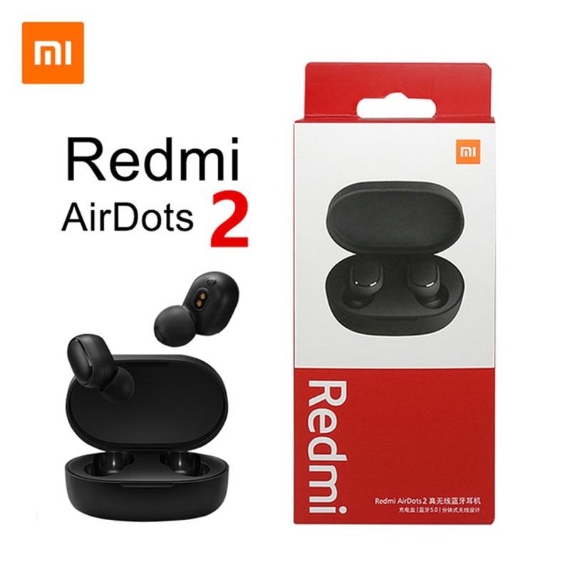 Original Xiaomi Redmi Airdots 2 TWS Kopfhörer Wahre Wireless Bluetooth 5,0 Stereo Bass Mic Freihändiger Ohrhörer AI Control