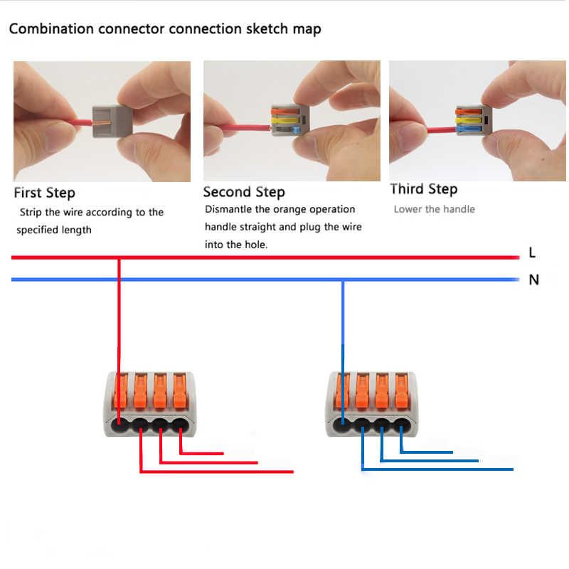 電線コネクタセットボックスユニバーサルコンパクト端子台照明ワイヤーコネクター 3 ルームハイブリッドクイックコネクタ