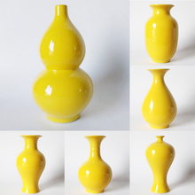 Желтая Ваза для цветов Цзиндэчжэнь керамическая бутылка с горлышком из чистого желтого золота домашним интерьером; Feng Shui украшения F