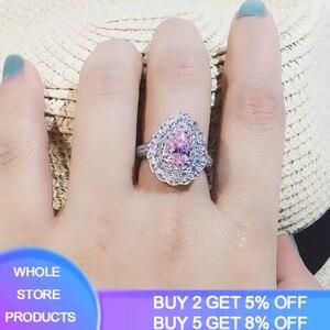 Женское свадебное кольцо YANHUI, кольцо в форме капли воды из серебра 925 пробы с фианитом, R203