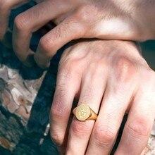 Золотое мужское кольцо на заказ герб семейный герб индивидуальные инициалы имя печатка мизинец подарки для папы