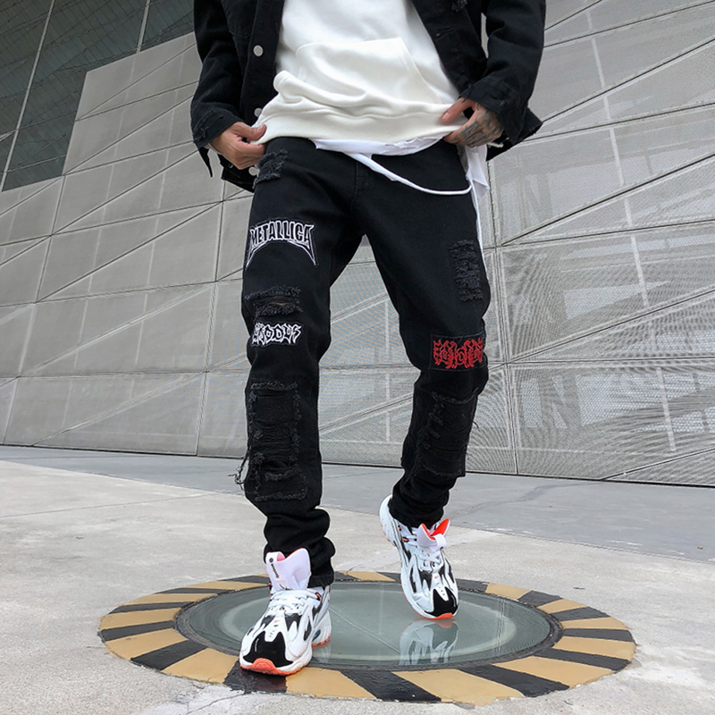 Jeans Homme Men 2019 New Korean Hole Loose Straight Streetwear Hip Hop Personality Print Pencil Pants Ripped Jeans For Men