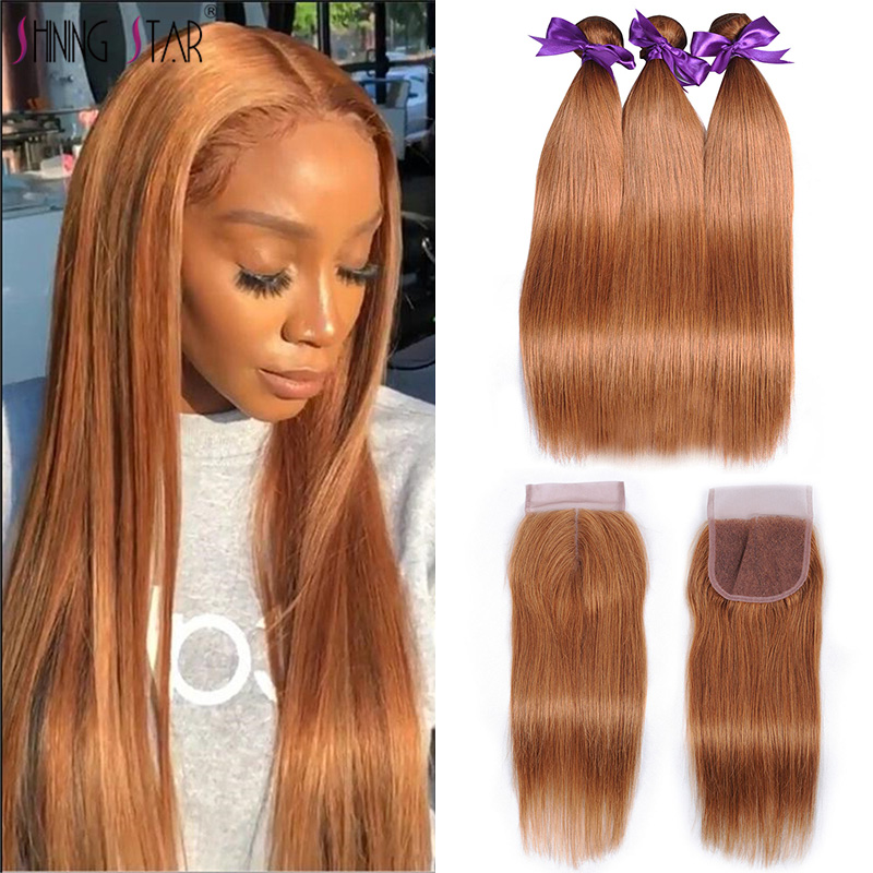 Blonde Brazilian Straight Hair Bundles With Closure Color 30 Human Hair Weave 3 Bundles With Closure Non-Remy Shining Star Hair