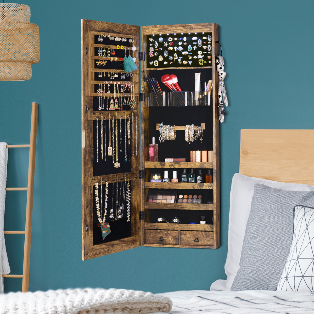 Multifunctional LED Jewelry Mirror Cabinet Wall Door Mounted Jewelry Cabinet Lockable Armoire Organizer Dresser Mirror with LED