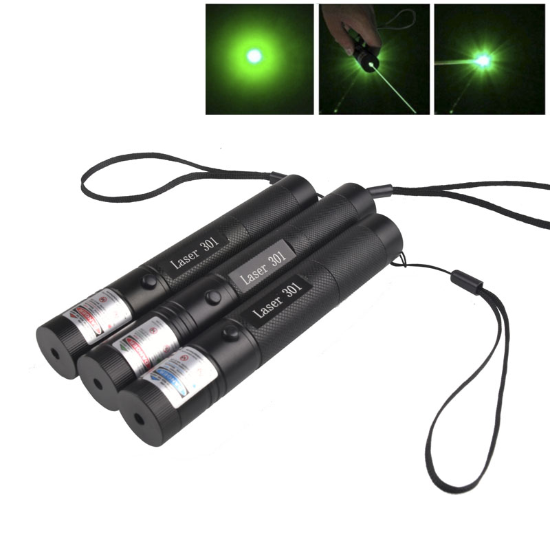 1pcs High Powerful 301 Green light Laser Pointer pen Adjustable Focus 532nm Lazer Pen Visible Beam no Battery