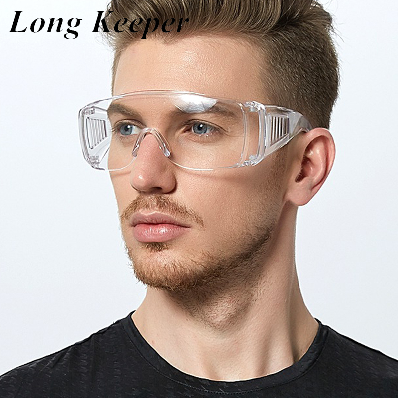 LongKeeper Protective Safety Goggles PC Transparent Spectacles Lightweight Windproof Eyeglasses Anti Fog Working Eyewear