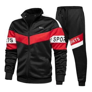 New Spring Mens Clothing Men Hoodie Sets Printing Suit Set Fleece Zipper Sweatshirt Casual Sport Sweatpants Mens Tracksuits 2021 4