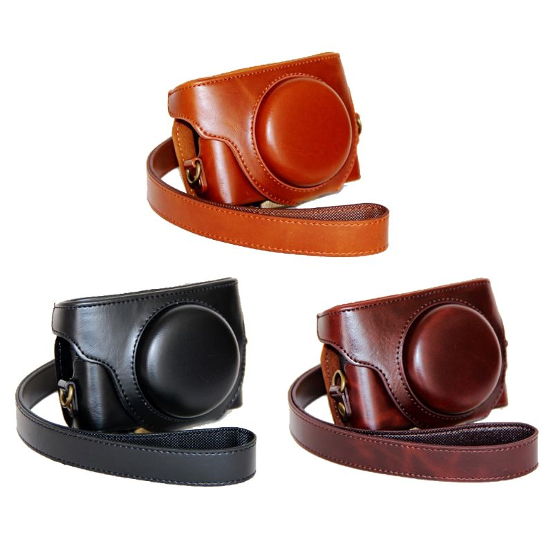 Durable PU Leather Camera Bag Protective Pouch Cover with Shoulder Strap for Sony DSC-RX100III M3 M4 M5 Accessories