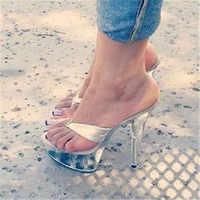 Sexy 15 centimetri tacchi con trasparente della piattaforma, tacchi sottili, 6in estate flip-flop, di cristallo suola fase pantofole