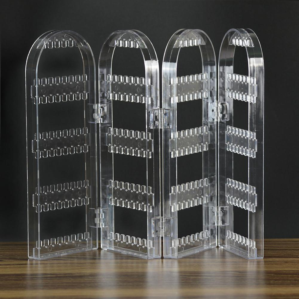 Clear Acrylic Earrings Ear Studs Necklace Display Rack Multifunctional Folding Screen Earring Jewelry Display Stand Holder Joyer
