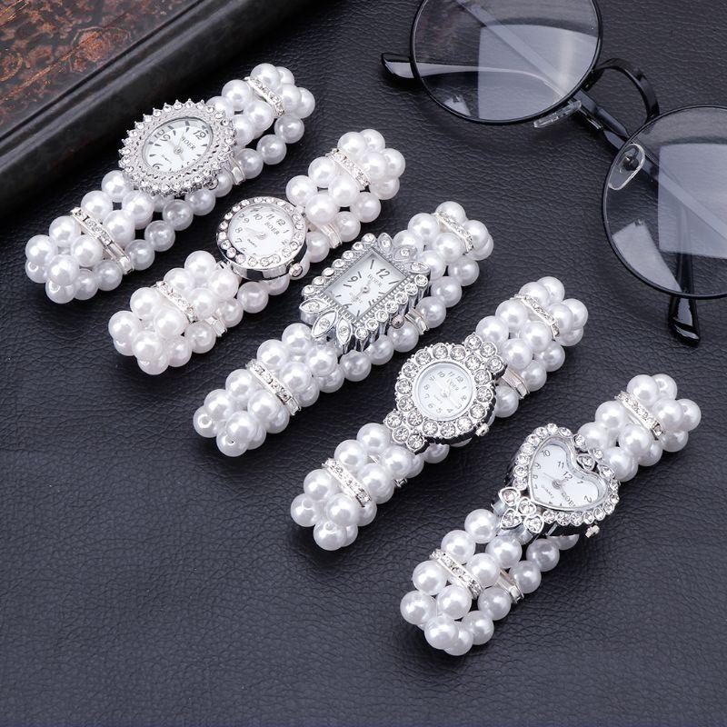 נשים שעון סימולציה פרל ריינסטון יוקרה אופנה אלגנטי להקת יד צמיד מתנות תכשיטי ליידי אלסטי אוניברסלי קסמי