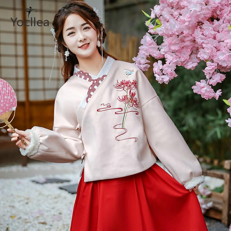 Autumn and winter 2019 Chinese style Hanfu girl New Year embroidery Fur collar woolen coat Tops Long waist skirt two piece set