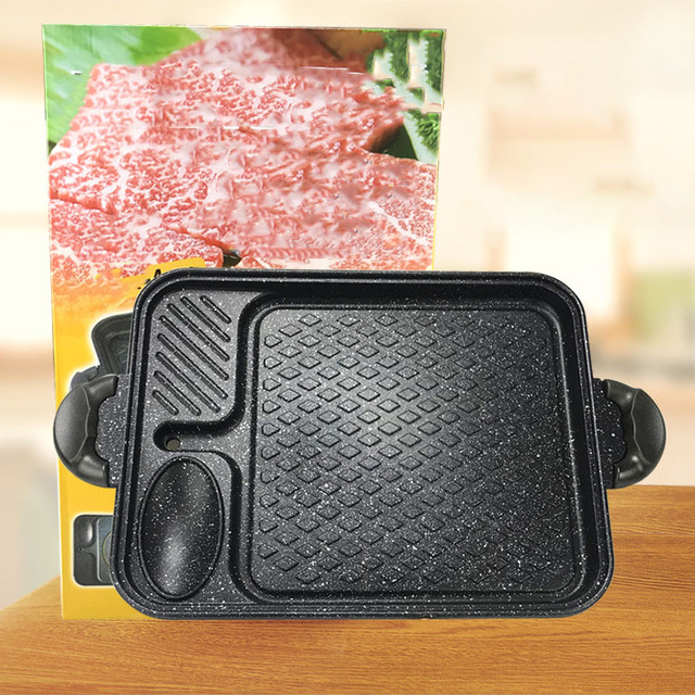 Frying Pan Korean Induction Cooker Baking Tray Square Barbecue Tray Teppanyaki Smokeless Non-Stick Barbecue Pot Barbecue Supplie