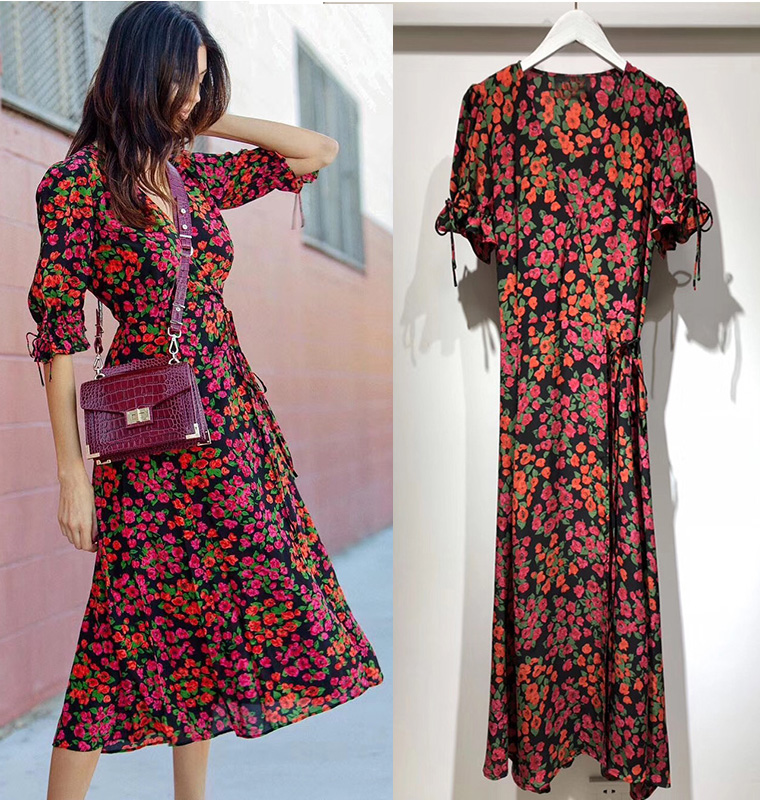 Women Dress High Quality Heavy Silk Printed Short sleeved Dress Romantic V neck Dress