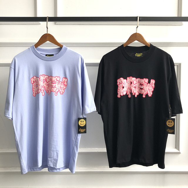 Top Quality 2020ss Drew House Smile Face Melt Short Sleeve T Shirt Men Women Couples Tees Justin Bieber 100% Cotton T-Shirt 6