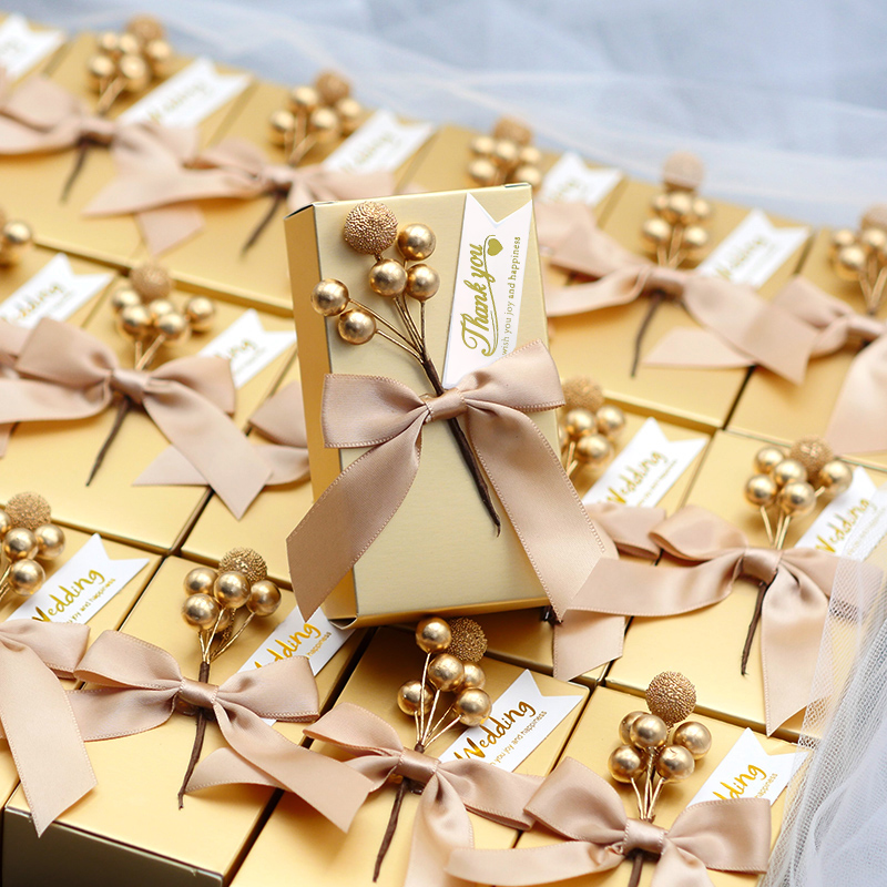 50pcs Custom Logo Chocolate Boxes Golden Unique Diy Bead Flower Square Personalized Candy Box Wedding Gift For Guest