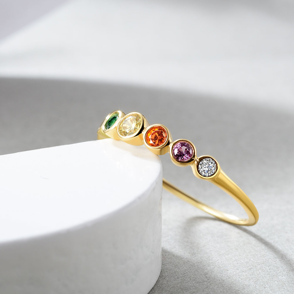 E  Real Sterling Silver 925 Rainbow Ring Women's Color Cubic Zirconia Rings 14K Gold plated Eternity Wedding Rings Jewelry