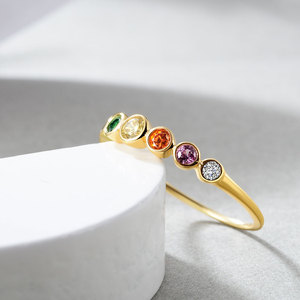 Image 5 - E  Real Sterling Silver 925 Rainbow Ring Womens Color Cubic Zirconia Rings 14K Gold plated Eternity Wedding Rings Jewelry