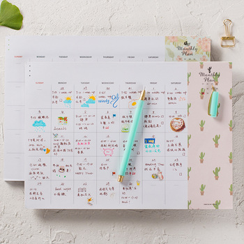 Creative 2021 Undated Monthly Plan Pad 210*295mm Cool A4 Floral Month Planner Paper Notes 48 Sheets image