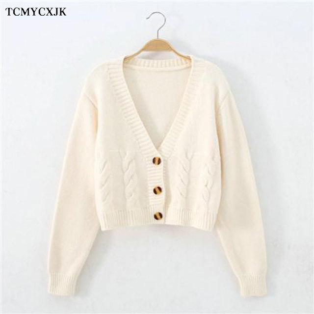 Short High Waist Slim Cable V-neck Sweater Women Spring And Autumn 2021 New Single-breasted Knitted Cardigan Twist Small Jackets 4