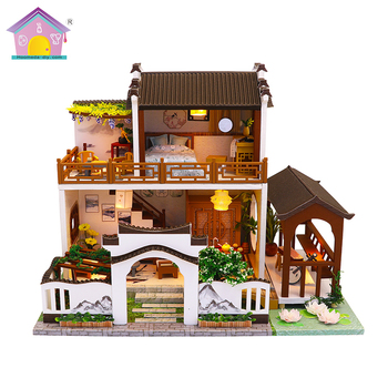 Chinoiserie DIY Doll House Wooden Miniature Dollhouse Furniture Kit Educational Toys For Children M912 Chinese Antiquity Style