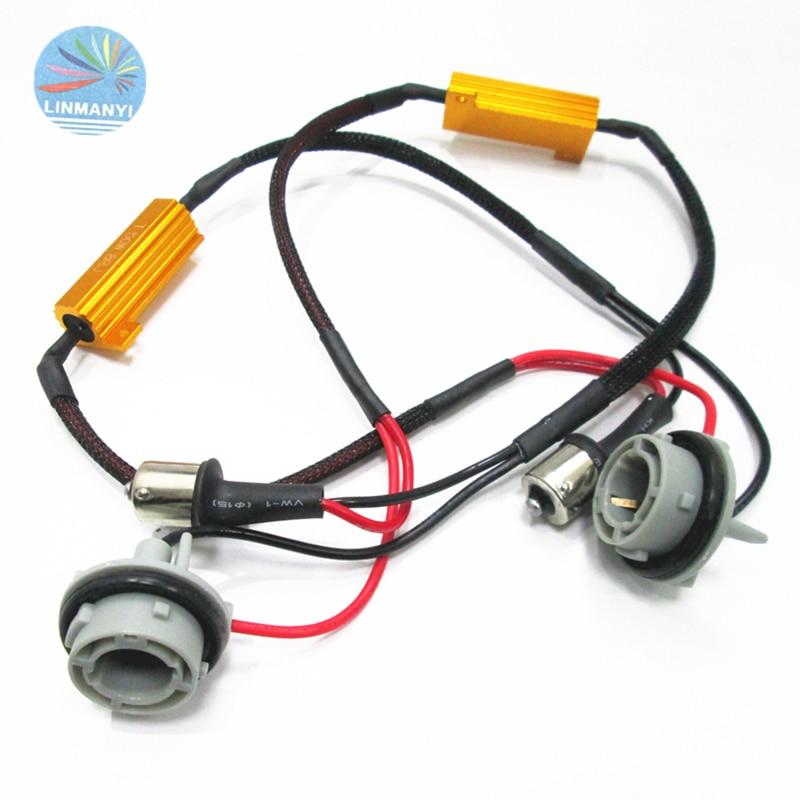 2PCS S25 P21W PY21W BAY15S BA15S 1156 LED Decoder 50W 8Ohm Canbus Free Error LED Resistor Decoder Warning Signal Error Cancel