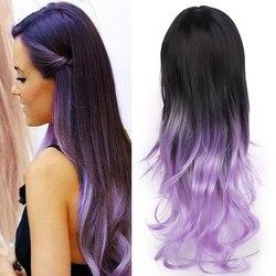 Snoilite vague de corps Ombre perruque violet avec frange longue synthétique Cosplay perruque marron blond gris rouge rose femmes perruque cheveux naturels