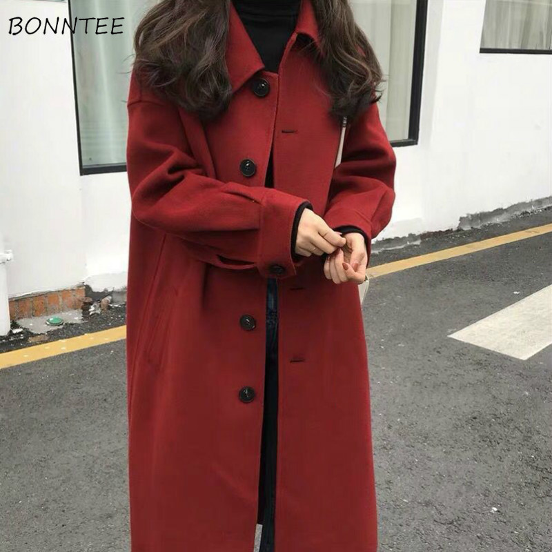 Wool Women Solid Color All Match Long Single Breasted Korean Style High Fashion Womens Blends Top Quality Ulzzang Ladies Simple