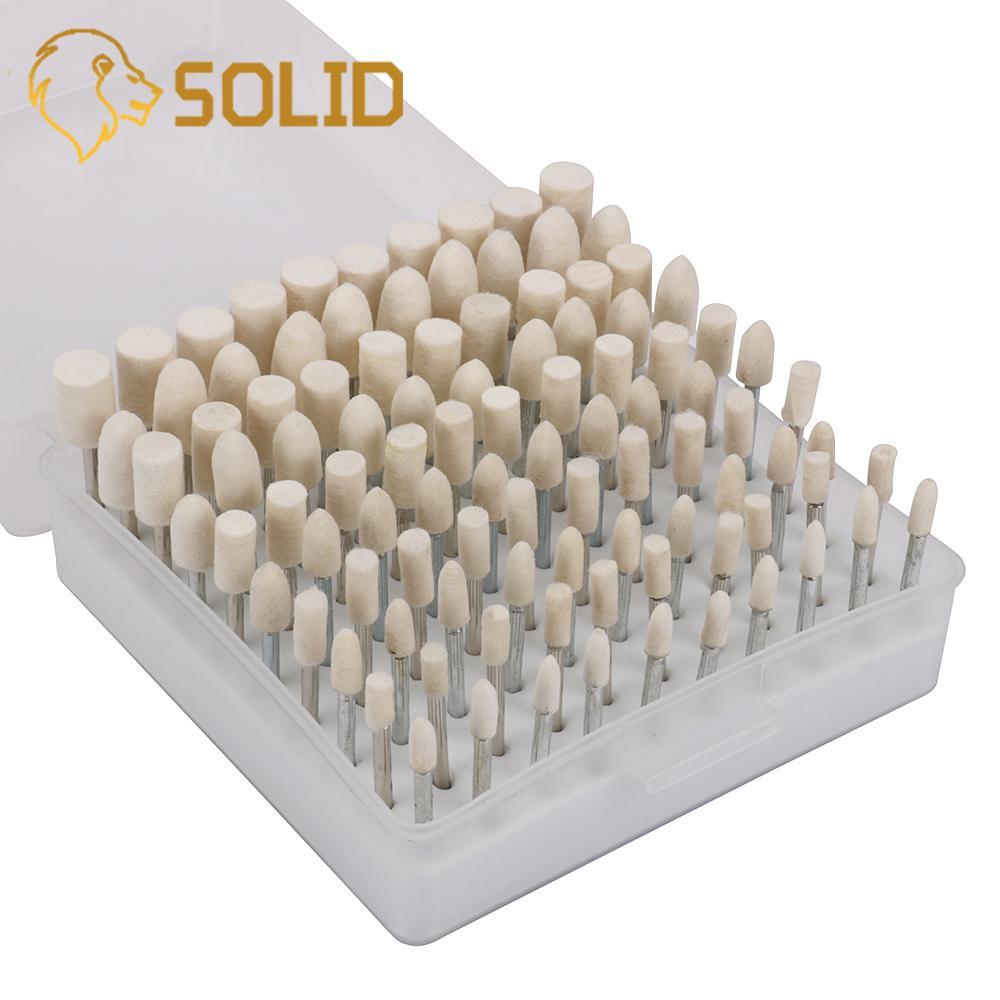 100pcs/Set Wool Felt Grinding Heads 4/5/6/8/10mm Dremel Mini Drill Felt Wheel For Metal Polish Shank 3mm